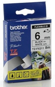 Brother TZ-FX211 Black on White Flexi ID Tape