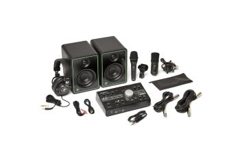 "Mackie Studio Bundle 3"" Monitors, Monitor Controller, Headphones, and Two Microphones"